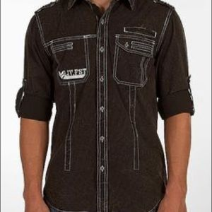Affliction NWT uncaged convertible sleeve shirt